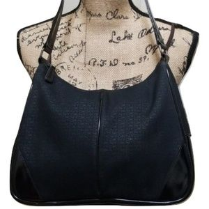 DKNY Black Canvas and Patent Leather Hobo Bag Logo